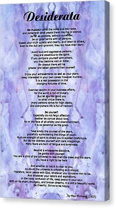 Desiderata 3 - Words Of Wisdom Canvas Print by Sharon Cummings