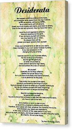Desiderata 5 - Words Of Wisdom Canvas Print by Sharon Cummings