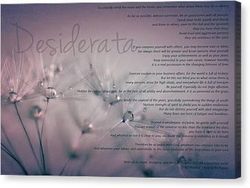 Desiderata - Dandelion Tears Canvas Print by Marianna Mills