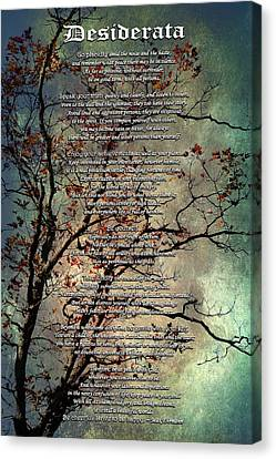 Desiderata Inspiration Over Old Textured Tree Canvas Print by Christina Rollo