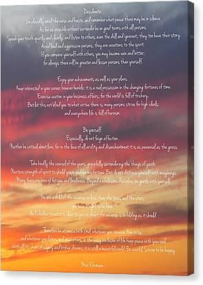 Desiderata Sky 2 Canvas Print by Terry DeLuco