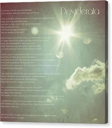 Desiderata Wishes Canvas Print by Marianna Mills