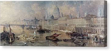 Design For The Thames Embankment Canvas Print by Thomas Allom