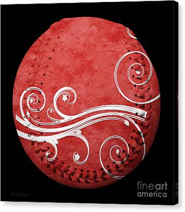 Designer Red Baseball Square Canvas Print by Andee Design