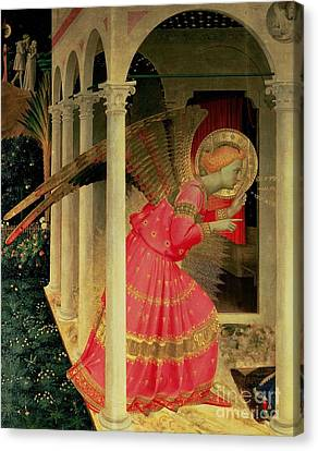 Detail From The Annunciation Showing The Angel Gabriel Canvas Print by Fra Angelico