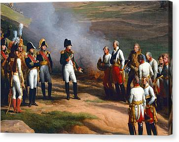 Detail From The Surrender Of Ulm, 20th October, 1805 - Napoleon And The Austrian Generals, 1815 Oil Canvas Print by Charles Thevenin