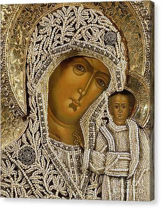 Detail Of An Icon Showing The Virgin Of Kazan By Yegor Petrov Canvas Print by Russian School