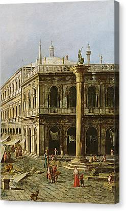Detail Of Palazzo Della Zecca Canvas Print by Michele Marieschi