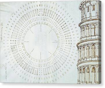 Detail Of Study With Map And Relief Of Colosseum Canvas Print by Giuliano da Sangallo
