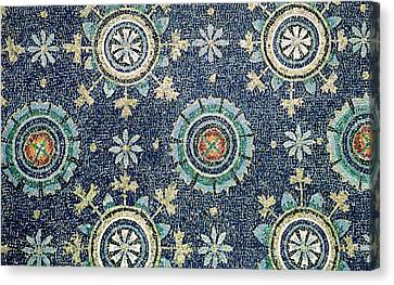 Detail Of The Floral Decoration From The Vault Mosaic Canvas Print by Byzantine