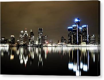 Detroit Night Skyline Canvas Print by Alanna Pfeffer