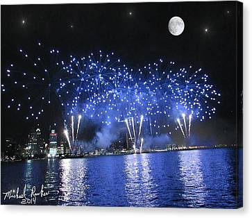Detroit River Fireworks Canvas Print by Michael Rucker