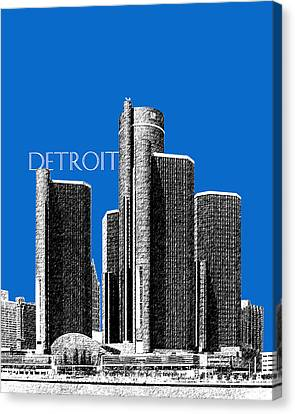 Detroit Skyline 1 - Blue Canvas Print by DB Artist