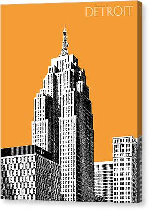 Detroit Skyline 2 - Orange Canvas Print by DB Artist