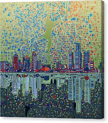 Detroit Skyline Abstract 3 Canvas Print by Bekim Art