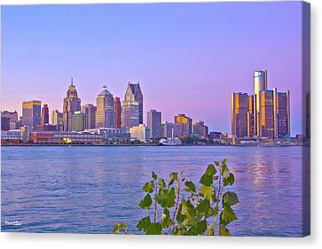 Detroit Skyline At Sunset Canvas Print by Bill Woodstock
