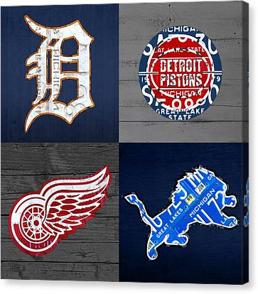 Detroit Sports Fan Recycled Vintage Michigan License Plate Art Tigers Pistons Red Wings Lions Canvas Print by Design Turnpike