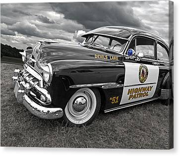 Devils Lake Highway Patrol - '51 Chevy Canvas Print by Gill Billington