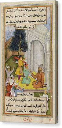Devotee Helping The King Canvas Print by British Library