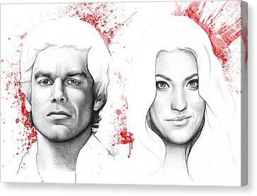 Dexter And Debra Morgan Canvas Print by Olga Shvartsur