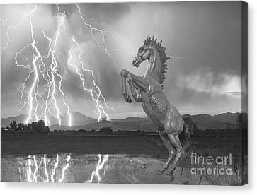 Dia Mustang Bronco Lightning Storm Bw Canvas Print by James BO  Insogna
