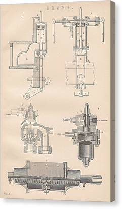 Diagram Of A Brake Canvas Print by Anon