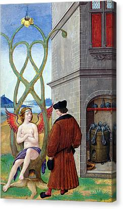 Dialogue Between The Alchemist And Nature, 1516 Vellum Canvas Print by Jean Perreal