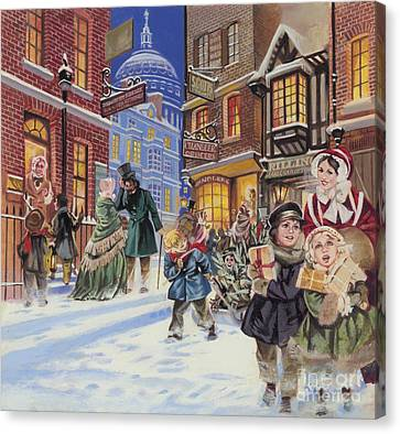 Dickensian Christmas Scene Canvas Print by Angus McBride