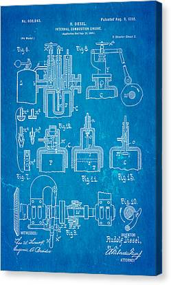 Diesel Internal Combustion Engine Patent Art 1898 Blueprint Canvas Print by Ian Monk