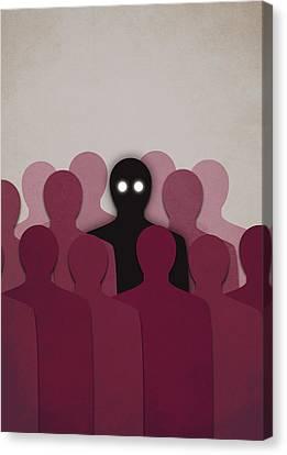 Different And Alone In Crowd Canvas Print by Boriana Giormova