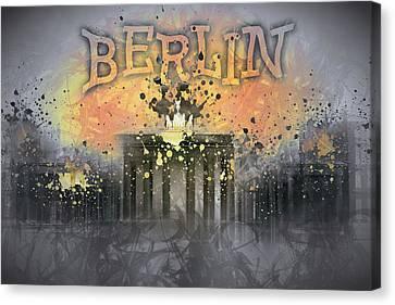 Digital-art Brandenburg Gate I Canvas Print by Melanie Viola