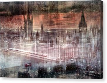 Digital-art London Westminster II Canvas Print by Melanie Viola