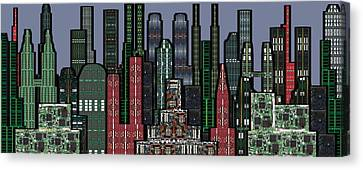 Digital Circuit Board Cityscape 5a - Wide Canvas Print by Luis Fournier