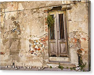 Dilapidated Brown Wood Door Of Portugal II Canvas Print by David Letts