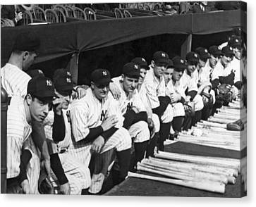 Dimaggio In Yankee Dugout Canvas Print by Underwood Archives