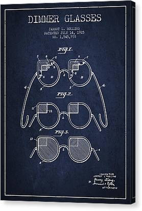 Dimmer Glasses Patent From 1925 - Navy Blue Canvas Print by Aged Pixel