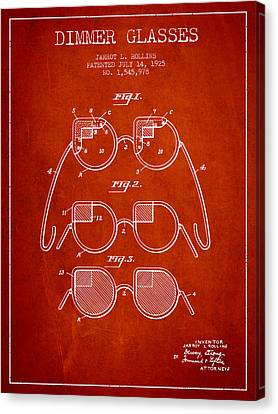 Dimmer Glasses Patent From 1925 - Red Canvas Print by Aged Pixel