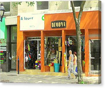Dimona Latin Quarter Romantic Morning Summer Stroll Pretty Streets Montreal City Scene C Spandau Canvas Print by Carole Spandau