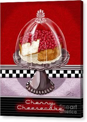 Diner Desserts - Cherry Cheesecake Canvas Print by Shari Warren