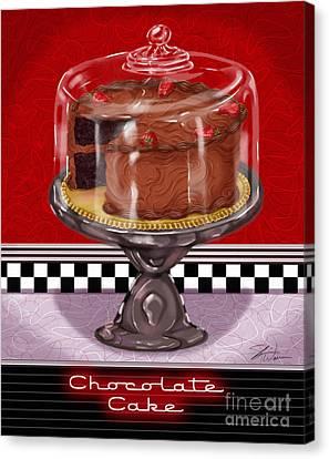 Diner Desserts - Chocolate Cake Canvas Print by Shari Warren