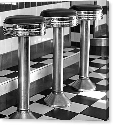 Diner Stools Canvas Print by Lisa Phillips
