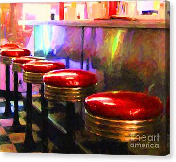 Diner - V2 - Horizontal Canvas Print by Wingsdomain Art and Photography