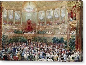Dinner In The Salle Des Spectacles At Versailles Canvas Print by Eugene-Louis Lami