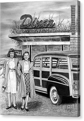 Dinner With The Girls Canvas Print by Peter Piatt