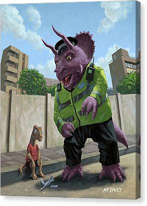 Dinosaur Community Policeman Helping Youngster Canvas Print by Martin Davey