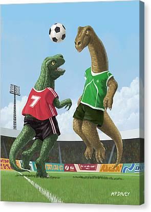 Dinosaur Football Sport Game Canvas Print by Martin Davey