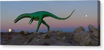 Dinosaur Loose On Route 66 2 Panoramic Canvas Print by Mike McGlothlen