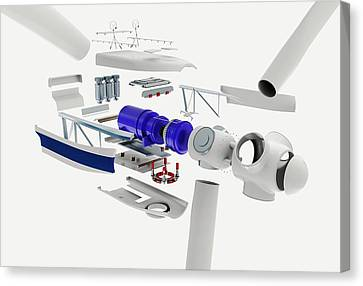 Disassembled Parts Of A Wind Turbine Canvas Print by Dorling Kindersley/uig