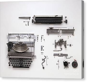 Disassembled Typewriter Canvas Print by Dave King / Dorling Kindersley / Allens Typewriters Ltd