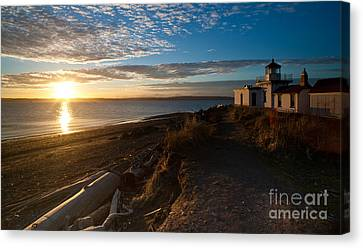 Discovery Park Lighthouse Sunset Canvas Print by Mike Reid